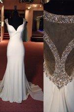 Fancy Mermaid Scoop Chiffon Sleeveless Prom Dresses Sweep Train and Beading
