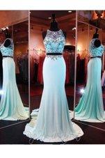 Romantic Baby Blue Scoop Neckline Beading and Appliques Prom Dress Sleeveless Zipper