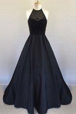 Designer Halter Top Sleeveless Prom Party Dress Floor Length Beading and Pleated Black Satin