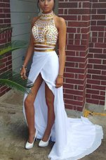 Sophisticated White Two Pieces High-neck Sleeveless Elastic Woven Satin With Train Sweep Train Zipper Beading Dress for Prom