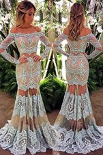 Great Mermaid Off the Shoulder White Long Sleeves Lace Floor Length Prom Party Dress