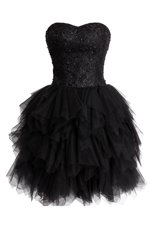 Black Sleeveless Knee Length Beading and Sequins Lace Up Prom Party Dress