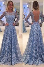 Scoop Long Sleeves Lace Sweep Train Backless Dress for Prom in Blue for with Lace