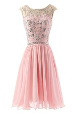 Pink A-line Chiffon Scoop Sleeveless Beading Tea Length Zipper Party Dresses