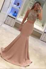 Mermaid Scoop With Train Zipper Peach and In for Prom with Beading Sweep Train