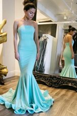 Attractive Mermaid Baby Blue Strapless Neckline Ruching Prom Homecoming Dress Sleeveless Zipper