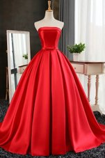 Pleated Red Sleeveless Satin Sweep Train Lace Up Prom Dress for Prom and Party