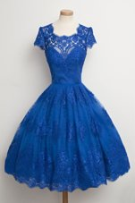 Scalloped Lace Cap Sleeves Knee Length Prom Dress and Lace
