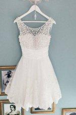 Scoop Sleeveless Prom Dresses Knee Length Beading White Lace