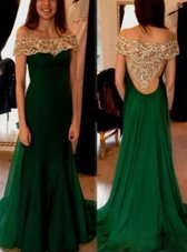 Pleated Dark Green Evening Dress Off The Shoulder Short Sleeves Sweep Train Side Zipper
