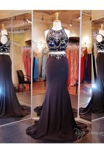 Noble Scoop With Train Black Homecoming Dress Elastic Woven Satin Brush Train Sleeveless Beading and Appliques