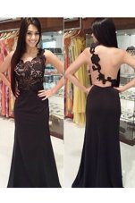 Spectacular Scoop Black Column/Sheath Appliques Prom Evening Gown Backless Lace Sleeveless With Train