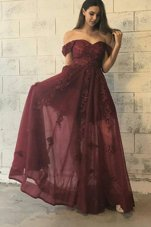 Tulle Off The Shoulder Short Sleeves Zipper Appliques Prom Evening Gown in Burgundy
