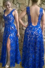 Blue Sleeveless Lace Floor Length Homecoming Dress