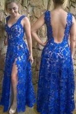 Blue Sleeveless Lace Floor Length Homecoming Dress