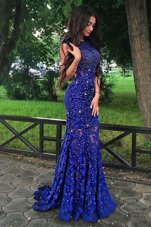 Mermaid Scoop Lace Sleeveless With Train Formal Dresses Sweep Train and Beading