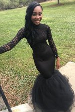 Mermaid Black Long Sleeves Elastic Woven Satin Zipper Pageant Gowns for Prom