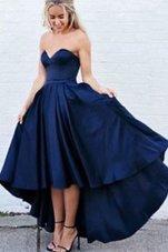 Best Navy Blue Satin Zipper Sweetheart Sleeveless High Low Evening Dress Pleated
