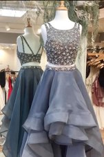 Scoop Sleeveless Organza High Low Zipper Glitz Pageant Dress in Grey for with Beading