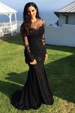 Black Mermaid Scoop Long Sleeves Tulle Sweep Train Zipper Beading and Lace Evening Gowns