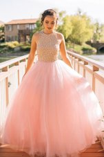 Scoop Sleeveless Beading Zipper Prom Dresses