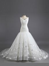 V-neck Sleeveless Wedding Gown With Train Court Train Ruching White Organza