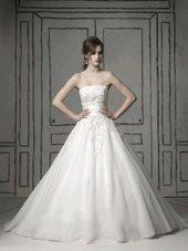 Gorgeous White Strapless Zipper Appliques Wedding Dresses Brush Train Sleeveless