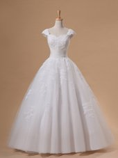 White A-line V-neck Sleeveless Tulle With Train Chapel Train Lace Up Appliques and Sashes|ribbons Wedding Dresses