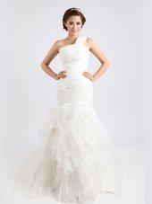 Deluxe Mermaid White One Shoulder Zipper Ruffled Layers Wedding Dresses Brush Train Sleeveless