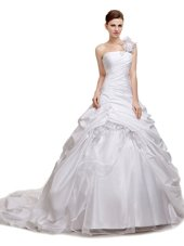 Elegant Ruching and Pick Ups Wedding Dresses White Lace Up Sleeveless With Train Court Train