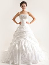 Strapless Sleeveless Wedding Gown With Train Court Train Beading and Pick Ups White Taffeta