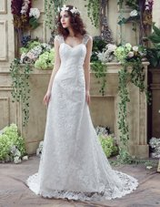 Attractive Sleeveless Court Train Beading and Lace and Appliques Lace Up Wedding Dress