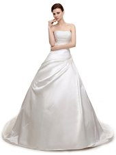 White Sleeveless Court Train Ruching With Train Wedding Gowns