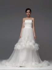 Beading and Pick Ups Wedding Gowns White Lace Up Sleeveless With Train Chapel Train