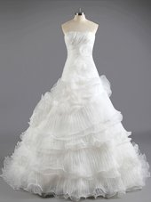 Modest White Strapless Lace Up Ruffled Layers Wedding Dress Court Train Sleeveless