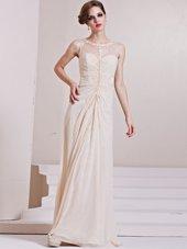 Champagne Zipper Scoop Beading Wedding Dress Chiffon Sleeveless