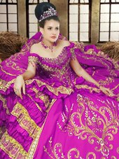 Spectacular Purple Ball Gowns Off The Shoulder Sleeveless Satin Floor Length Lace Up Embroidery Quinceanera Dresses