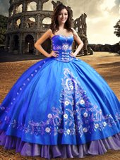 One Shoulder Royal Blue Sleeveless Lace and Embroidery Floor Length Quinceanera Gowns