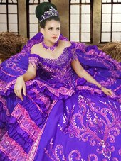 Off The Shoulder Sleeveless Satin Quinceanera Gown Embroidery Lace Up