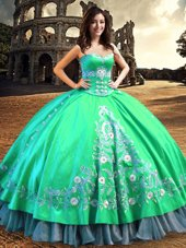 Off the Shoulder Sleeveless Satin Floor Length Lace Up Quinceanera Dress in Turquoise for with Lace and Embroidery