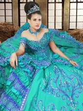 Off the Shoulder Floor Length Lace Up Quince Ball Gowns Turquoise and In for Military Ball and Sweet 16 and Quinceanera with Embroidery