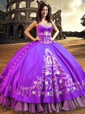 Latest Satin Sleeveless Floor Length Sweet 16 Dresses and Embroidery