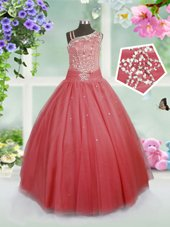 Watermelon Red Sleeveless Floor Length Beading Side Zipper Little Girls Pageant Dress Wholesale