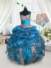 Baby Blue Organza Lace Up Kids Pageant Dress Sleeveless Floor Length Beading and Ruffles and Pick Ups