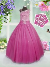 Rose Pink Sleeveless Beading Floor Length Girls Pageant Dresses