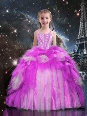 Halter Top Ruffled Floor Length Ball Gowns Sleeveless Green Child Pageant Dress Zipper