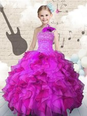 Watermelon Red Lace Up Scoop Beading and Ruffles Little Girls Pageant Gowns Organza Sleeveless