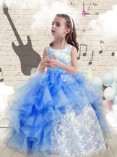 Baby Blue Ball Gowns Scoop Sleeveless Organza Floor Length Lace Up Beading and Ruffles Child Pageant Dress