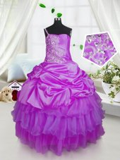Modern One Shoulder Sleeveless Satin and Tulle Floor Length Lace Up Pageant Gowns For Girls in Lavender for with Beading and Ruffled Layers and Pick Ups