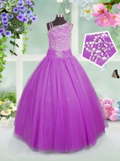 Dazzling Lilac Ball Gowns Asymmetric Sleeveless Tulle Floor Length Lace Up Beading Little Girl Pageant Gowns